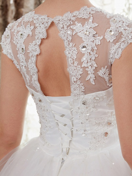 Ball Gown Wedding Dresses V Neck Floor Length Satin Lace Over Tulle Cap Sleeve Romantic Illusion Detail_10