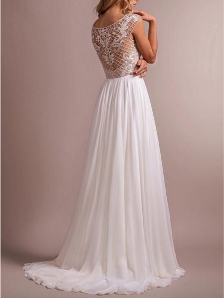 A-Line Wedding Dresses Jewel Neck Sweep \ Brush Train Organza Regular Straps_3