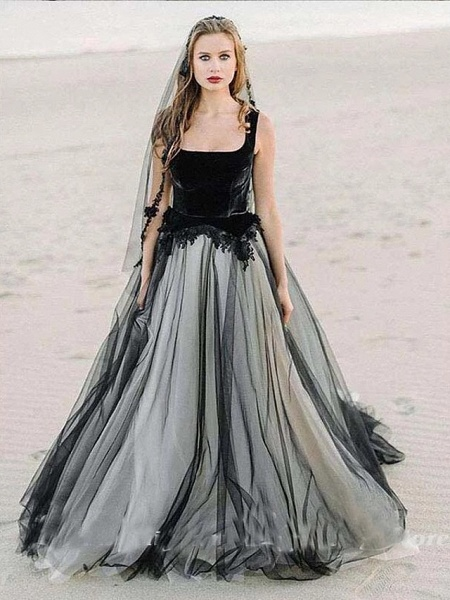 A-Line Wedding Dresses Scoop Neck Sweep \ Brush Train Lace Tulle Sleeveless Sexy Plus Size Black Modern_3