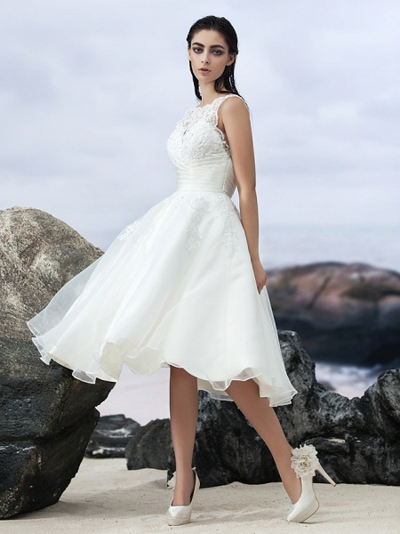 A-Line Wedding Dresses Bateau Neck Knee Length Organza Regular Straps Formal Casual Little White Dress Illusion Detail Backless_7