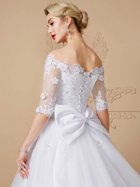 Ball Gown Wedding Dresses Off Shoulder Court Train Lace Tulle Half Sleeve Sparkle & Shine Open Back Cute_6