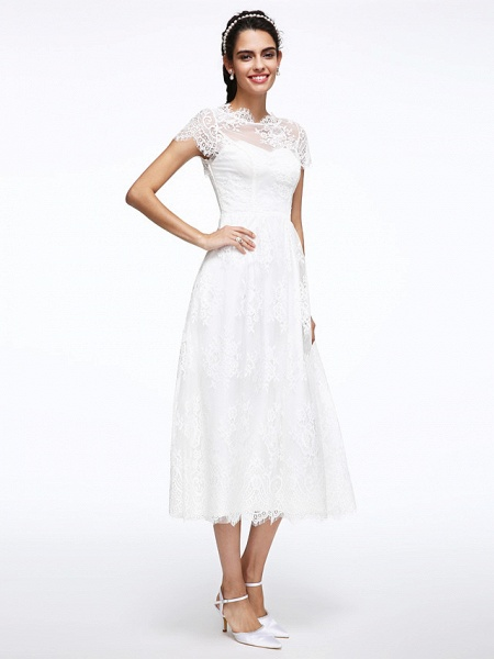 A-Line Wedding Dresses Jewel Neck Tea Length Lace Short Sleeve Simple Casual Illusion Detail Backless_4