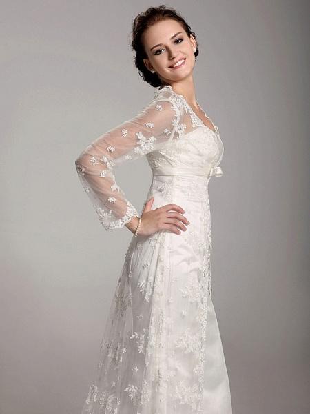 Sheath \ Column Wedding Dresses Square Neck Sweep \ Brush Train Lace Satin Long Sleeve_5