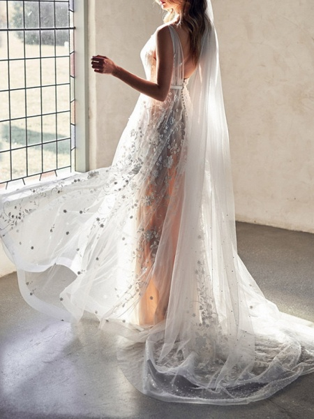 A-Line Wedding Dresses Sweetheart Neckline Court Train Lace Sleeveless Sexy Wedding Dress in Color See-Through_3