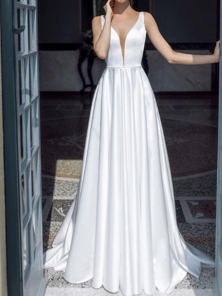 A-Line Wedding Dresses Plunging Neck Sweep \ Brush Train Taffeta Chiffon Over Satin Sleeveless Country Plus Size_1