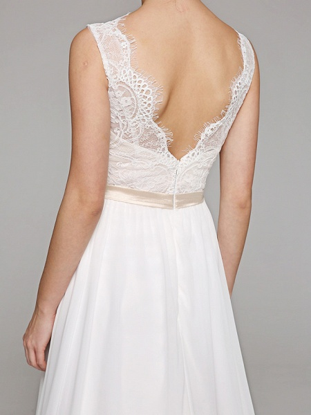 A-Line Wedding Dresses V Neck Court Train Chiffon Lace Bodice Regular Straps Simple Illusion Detail Backless_8