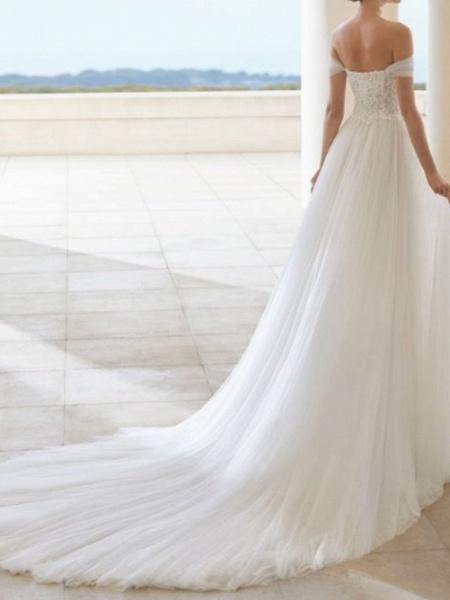 A-Line Wedding Dresses Off Shoulder Court Train Tulle Short Sleeve Formal Plus Size_2