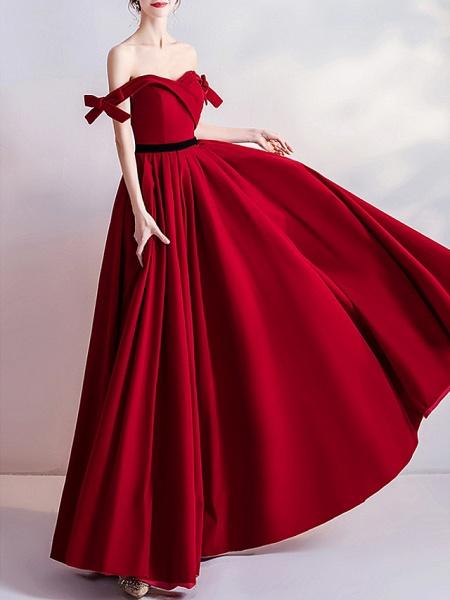 A-Line Wedding Dresses Off Shoulder Floor Length Satin Cap Sleeve Romantic Plus Size Red_4