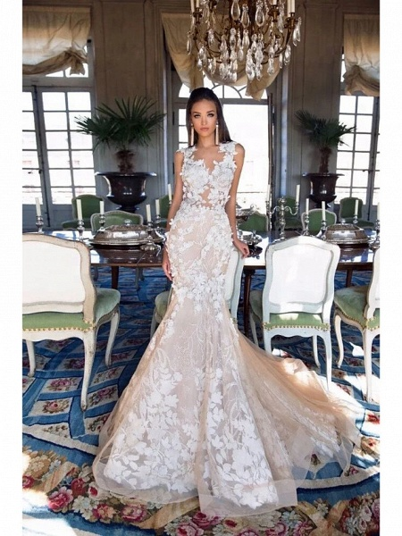 Mermaid \ Trumpet Jewel Neck Chapel Train Lace Tulle Regular Straps Illusion Detail Backless Wedding Dresses_5