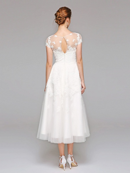 Ball Gown Wedding Dresses Bateau Neck Tea Length Lace Over Tulle Short Sleeve Formal Casual Illusion Detail Cute_2