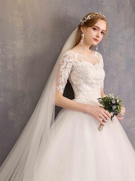 Ball Gown Wedding Dresses Sweetheart Neckline Floor Length Lace Tulle Half Sleeve Glamorous See-Through Illusion Sleeve_10