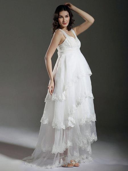 A-Line Wedding Dresses Straps Sweetheart Neckline Sweep \ Brush Train Asymmetrical Organza Sleeveless_2