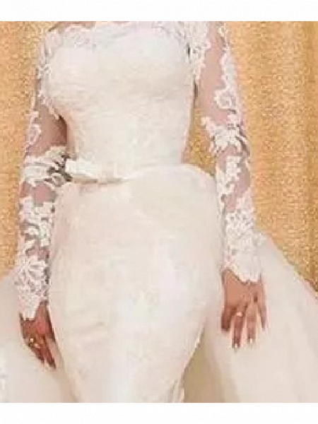 Mermaid \ Trumpet Off Shoulder Sweep \ Brush Train Lace Tulle Long Sleeve Country Plus Size Wedding Dresses_4