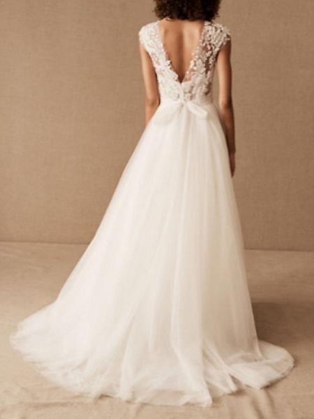 A-Line Wedding Dresses V Neck Court Train Lace Tulle Cap Sleeve_2