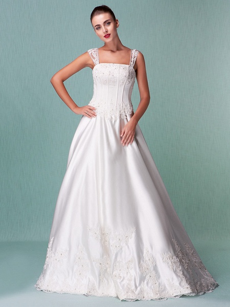 Lt14001 Simple Boho Ball Gown Wedding Dress_8