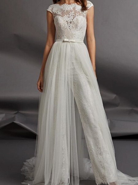 Jumpsuits Wedding Dresses Jewel Neck Floor Length Detachable Lace Tulle Cap Sleeve Country Plus Size_1