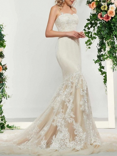 Mermaid \ Trumpet Wedding Dresses Spaghetti Strap Sweep \ Brush Train Lace Satin Tulle Sleeveless Romantic_1