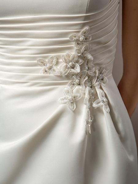 Mermaid \ Trumpet Wedding Dresses One Shoulder Court Train Satin Sleeveless_10