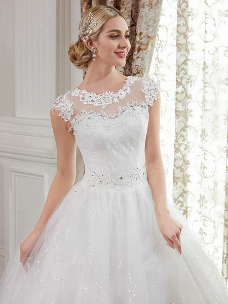 Ball Gown Wedding Dresses Jewel Neck Floor Length Lace Over Tulle Cap Sleeve Romantic Illusion Detail_6