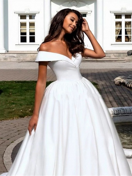 Ball Gown A-Line Wedding Dresses Off Shoulder Cathedral Train Polyester Short Sleeve_3