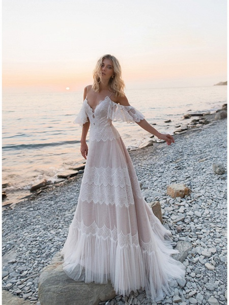 A-Line Wedding Dresses V Neck Sweep \ Brush Train Lace Tulle Short Sleeve Illusion Detail Backless_1