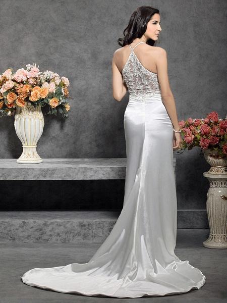 Mermaid \ Trumpet Wedding Dresses Halter Neck Court Train Stretch Satin Sleeveless_6