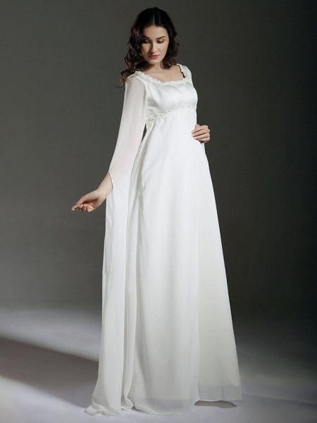 Sheath \ Column Wedding Dresses Square Neck Floor Length Chiffon Satin Long Sleeve See-Through_3