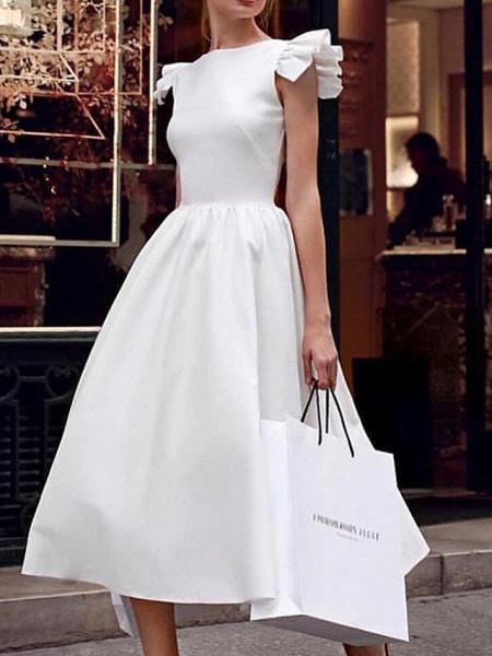 Ball Gown Wedding Dresses V Neck Ankle Length Satin Regular Straps Formal Vintage Plus Size 1950s Cute_2