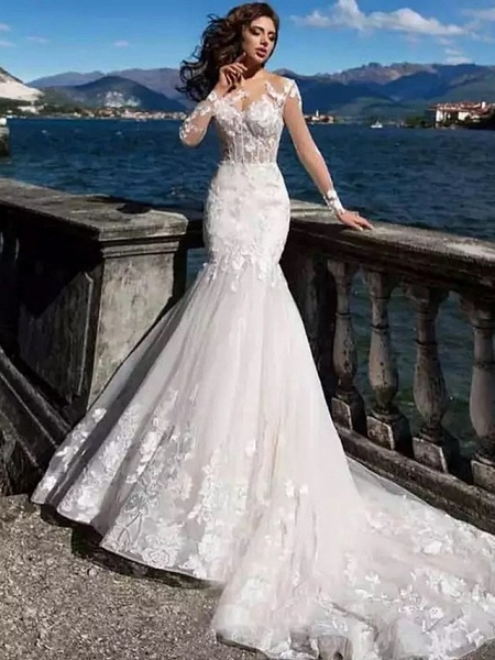 Mermaid \ Trumpet Wedding Dresses Bateau Neck Court Train Lace Tulle Lace Over Satin Long Sleeve Sexy See-Through Backless Illusion Sleeve_2