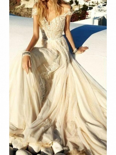 A-Line Sweetheart Neckline Sweep \ Brush Train Polyester Short Sleeve Country Plus Size Wedding Dresses_2