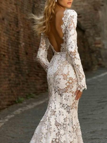 Mermaid \ Trumpet Wedding Dresses Bateau Neck Sweep \ Brush Train Lace Long Sleeve Romantic Boho See-Through Illusion Sleeve_2