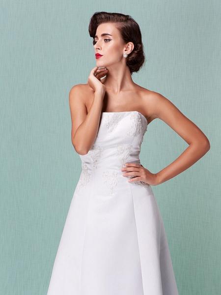 A-Line Wedding Dresses Strapless Floor Length Lace Over Satin Strapless Formal Simple Vintage Little White Dress Plus Size_3