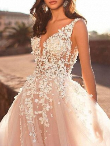 A-Line Wedding Dresses V Neck Sweep \ Brush Train Lace Tulle Regular Straps Mordern See-Through_3