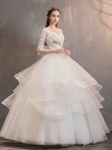 Ball Gown Wedding Dresses Jewel Neck Floor Length Lace Tulle Half Sleeve Glamorous See-Through Backless Illusion Sleeve_4