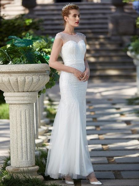 Mermaid \ Trumpet Wedding Dresses Illusion Neck Floor Length Tulle Sleeveless Sparkle & Shine_3