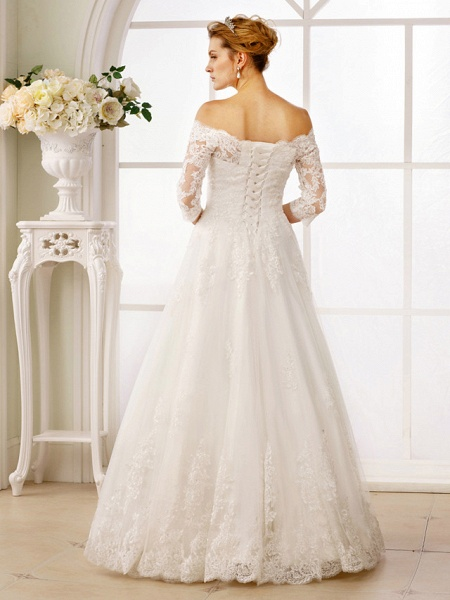 A-Line Off Shoulder Floor Length Lace Tulle Lace Over Tulle 3\4 Length Sleeve Floral Lace Illusion Sleeve Wedding Dresses_2