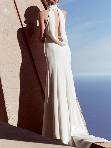Sheath \ Column Wedding Dresses High Neck Sweep \ Brush Train Satin Regular Straps Plus Size_2