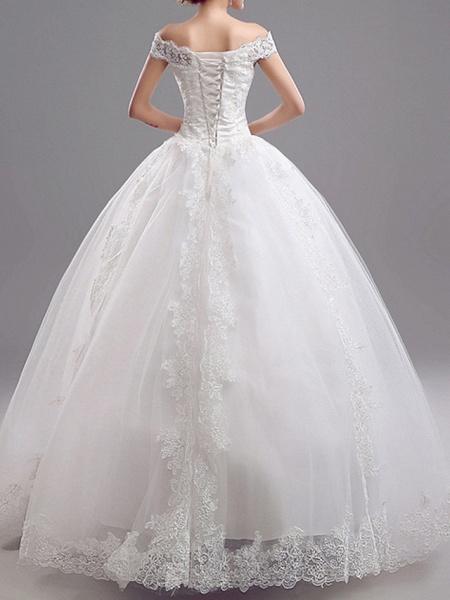 A-Line Wedding Dresses Off Shoulder Floor Length Tulle Short Sleeve Glamorous Illusion Detail_2