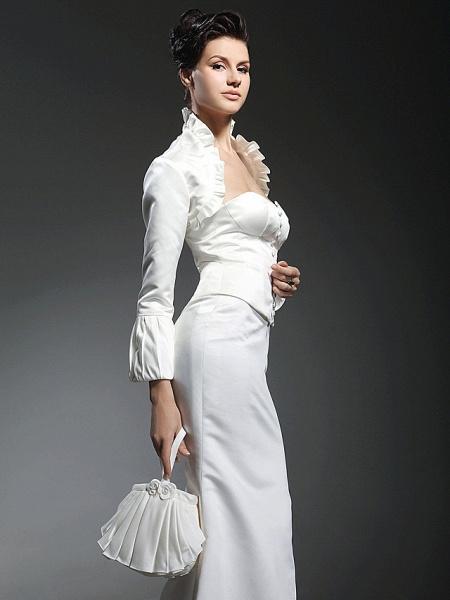Mermaid \ Trumpet Wedding Dresses Strapless Sweetheart Neckline Floor Length Satin Long Sleeve_5