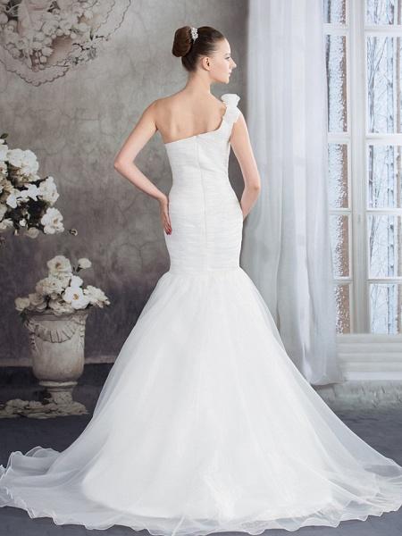 Mermaid \ Trumpet One Shoulder Court Train Organza Spaghetti Strap Wedding Dresses_3