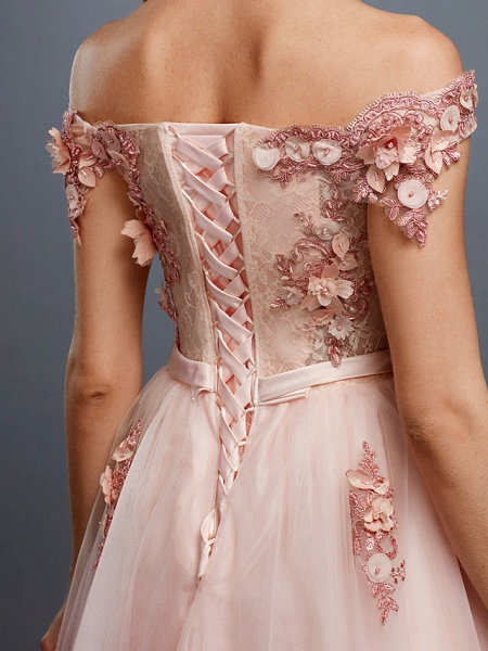 A-Line Floral Pink Prom Formal Evening Dress Off Shoulder Sleeveless Sweep \ Brush Train Tulle Over Lace_8