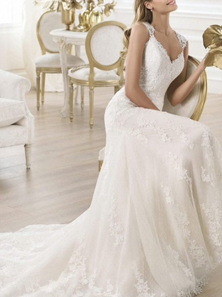 Mermaid \ Trumpet Wedding Dresses V Neck Sweep \ Brush Train Lace Sleeveless Beach_1