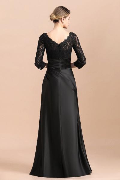 Elegant 3/4 Sleeves Black Satin Lace Ruffles Mother of Bride Dress_3