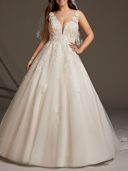 A-Line V Neck Sweep \ Brush Train Lace Tulle Regular Straps See-Through Illusion Detail Backless Wedding Dresses_1