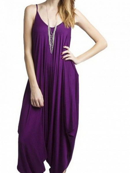 Women's Basic Wine Purple Yellow Jumpsuit_5