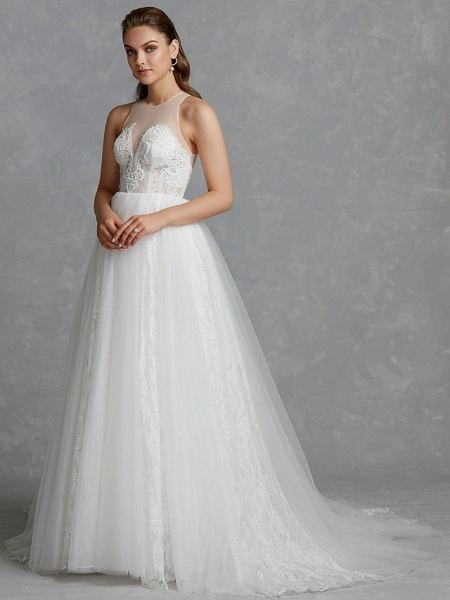 A-Line Wedding Dresses Jewel Neck Court Train Lace Tulle Regular Straps Glamorous See-Through Backless_5