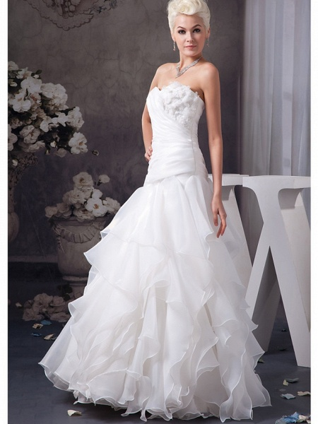 A-Line Sweetheart Neckline Floor Length Lace Organza Satin Strapless Wedding Dresses_2