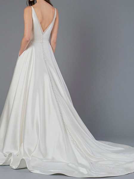 A-Line Wedding Dresses V Neck Court Train Polyester Sleeveless Country Plus Size_3