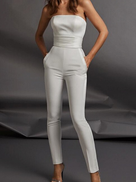 Two Piece Jumpsuits Wedding Dresses Strapless Floor Length Charmeuse Sleeveless Country Plus Size_2
