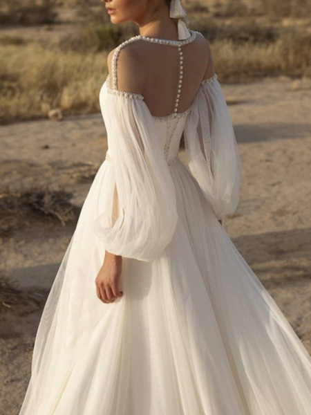 A-Line Wedding Dresses Jewel Neck Sweep \ Brush Train Lace Chiffon Over Satin Long Sleeve Country See-Through_2